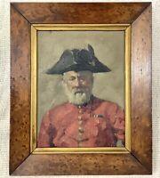 Antico Miniatura Ritratto Pittura Vecchio Soldier Cornice Firmato Royal Academy