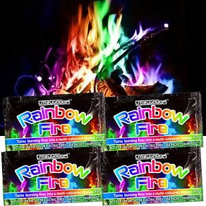 CrazyGadget® Rainbow Magic Coloured Flames Bonfire Sachets Fireplace Pit Patio