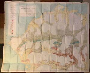 HUGE NORTHWEST ALASKA 1930 VINTAGE GEOLOGIC MAP Naval Petroleum Reserve ARCTIC