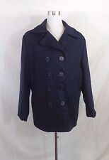 Mens Jordan Craig Long Pea Coat Navy Blue Size XL Wool Blend Double Breasted