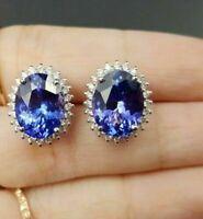 2Ct Oval Cut Blue Sapphire & Diamond Ladies Stud Earrings 14k White Gold Over