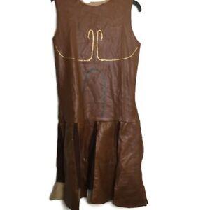 Handmade Roman Gladiator Halloween Costume XYY Zipper Faux Leather Painted