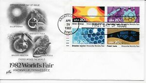 US Scott #1006-09, First Day Cover 4/29/82 Knoxville Plate Block World's Fair