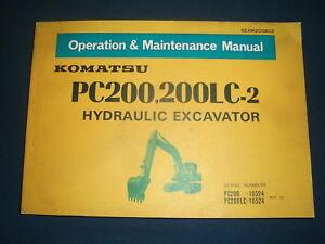 KOMATSU PC200-2 PC200LC-2 EXCAVATOR OPERATOR OPERATION & MAINTENANCE MANUAL BOOK