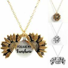 You are My Sunshine Open Locket Sunflower Pendant Necklace Girls Valentines Gift