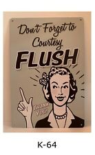 Tin Sign Funny Bathroom Rules Courtesy Flush Quotes Retro Metal Signs Plaques