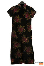 Black Velvet Dress Red Roses Stand Collar Chinese Style Buttons Goth Theatre Fit