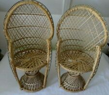 "2 Wicker Fan Back Peacock 16"" Doll Chairs~ Bears,Stuffed Animals,Dolls,or Plants"