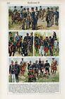 1930s MILITARY UNIFORM GERMANY GERMAN REICH FRANCE Antique Litho Print