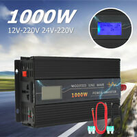 1000W AUTO POWER INVERTER CONVERTITORE DC 12V/24V A AC 220V LCD ONDA SINUSOIDALE