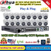 Dahua 4K 16CH NVR 8MP Starlight MIC IP Camera IPC-HDW2831T-AS-S2 CCTV System Kit