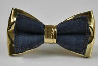 Navy Blue Denim + Gold Faux Leather Bow tie for Men / Youth / Boy / Baby Infant