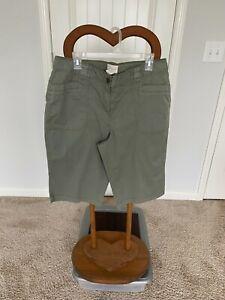 Chico's Green Cotton Blend Shorts Bottom Women Size 2 Inseam 14