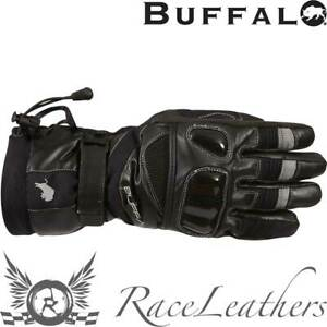 BUFFALO YUKON BLACK WATERPROOF BREATHABLE ARMOURED KNUCKLE MOTORCYCLE BIKE GLOVE