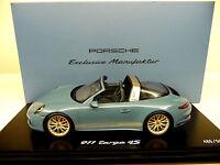 1:18 Spark Porsche 911 991 Targa 4S aetnablau Exclusive Manufaktur mit Vitrine