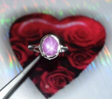925 Unisex Sterling Silver Ring Natural Oval Star Ruby Gemstone Ring Size 5-10