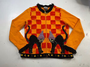 Vintage Berek women's Halloween Knit Cardigan sweater Women's Small Cats Witch