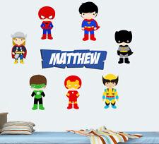 Personalised Superheroes Wall Art Stickers Super hero Superhero Thor Avengers