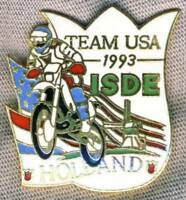 1993 FIM Six Days TEAM USA Motorcycle PIN Badge ISDE Holland ISDT Enduro