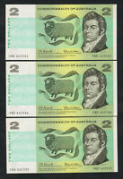 Australia R-81. (1966) 2 Dollars - Coombs/Wilson.. Consecutive Run of 3.  aU-UNC