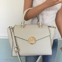 NEW! MICHAEL KORS Vanilla White Leather Large Satchel Tote Shoulder Bag Purse