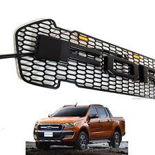 LED Black Grille Grill Fit Ford Ranger T6 Pickup Raptor 2015 2016 Facelift model