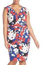 Adrianna Papell Print Faux Wrap Jersey Sheath Dress Sz 14