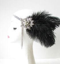 Black Silver Feather Headpiece Vintage 1920s Flapper Headband Great Gatsby 1745