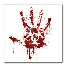 White Bloody Handprint Biohazard Sticker - Car Bumper vinyl Decal zombie #FS911