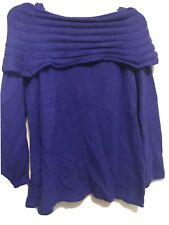 New Cable & Gauge Blue Off Shoulder Cowl Neck Angora Blend Sweater~ Sz L -Nwt