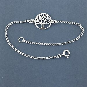 "925 Sterling Silver Tree of Life Bracelet  Charm Bracelet Anklet 6"" to 12"""