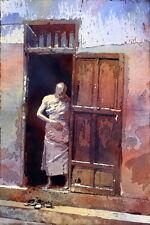 Watercolor painting of Buddhist monk in doorway- SE Asia (print)