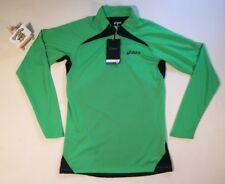 Mens Asics LS 1/2 Zip Green Top Shirt Jersey SMALL RUNNING GYM TRAINING FITNESS