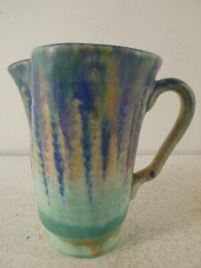 Vintage Beswick Ware Art Deco Dimpled Jug/Vase  - Green Drip Glaze B32