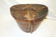 RP458: Leder Hutschachtel Hutkoffer Militär Koffer Zylinder Helm Vintage um 1900