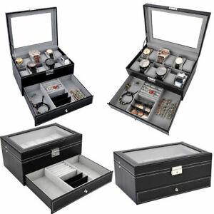 12 Grid jewelry Watch Box Mens Jewelry Display Drawer Tray Glass PU Leather UK