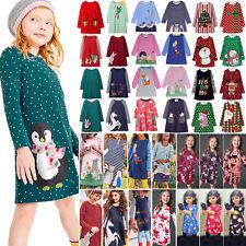 Kids Girls Winter Long Sleeve Christmas Dress Xmas Party Costume Festive Tunic