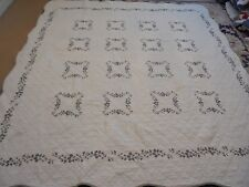 Nice White Whole Cloth w/Embroidered Flowers & Frame Quilt