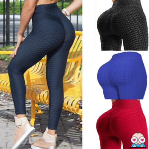 Womens Anti-Cellulite Leggings High Waist Yoga Solid Butt Lift Honeycomb Ladies