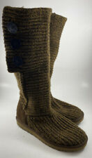 UGG Sz 8 Brown Classic Cardy Boots 5819 Foldover Sweater Knit Tall Short Buttons