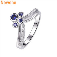 Newshe Gemstone Ring For Women 925 Sterling Silver Round Blue Sapphire Cz Size 5