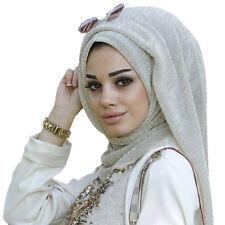Eg _ DAMEN Goldene Fäden Faltig Muslimisch Schal Hijab Stirnband Weich Kopftuch