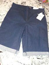 NYDJ Women's Pull-on Shorts with Roll Cuff - Denim blue 8  NWT back pockets