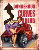 Dangerous Curves Ahead Vintage Retro Tin Metal Sign 13 x 16in
