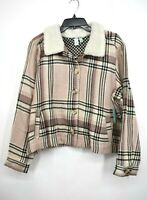 Susina Womens Faux Shearling Trimmed Plaid Jacke Regular & Petite Long Sleeve XL