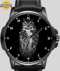 Owl On Black Close-up Portrait  Unique Wrist Watch FAST UK