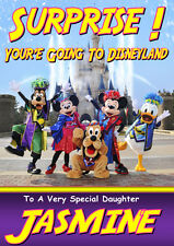 SURPRISE 'YOU'RE GOING TO DISNEYLAND' Personalised Card ANY NAME/AGE/RELATION B