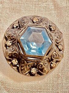 "Antique Button Gay 90's Jeweled Blue Center & Rhinestone Wreath  Metal 1 1/4"""