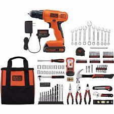 20V Lithium Drill Driver Set 128pc Black & Decker Battery Power Tool Kit Case