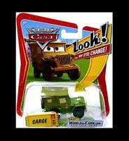 """LOOK !! NEU: CARS 1:55 SARGE ARMY WILLYS JEEP MIT BEWEGLICHEN """"WACKELAUGEN"""" !"""